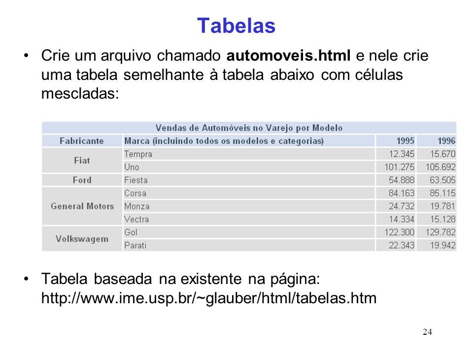 24 Tabelas Crie um arquivo chamado automoveis.html e nele crie uma tabela semelhante à tabela abaixo com células mescladas: Tabela baseada na existent