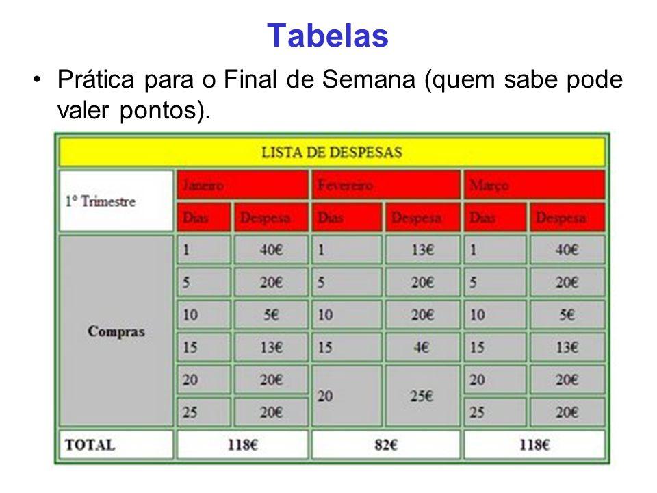 Tabelas Prática para o Final de Semana (quem sabe pode valer pontos). 25
