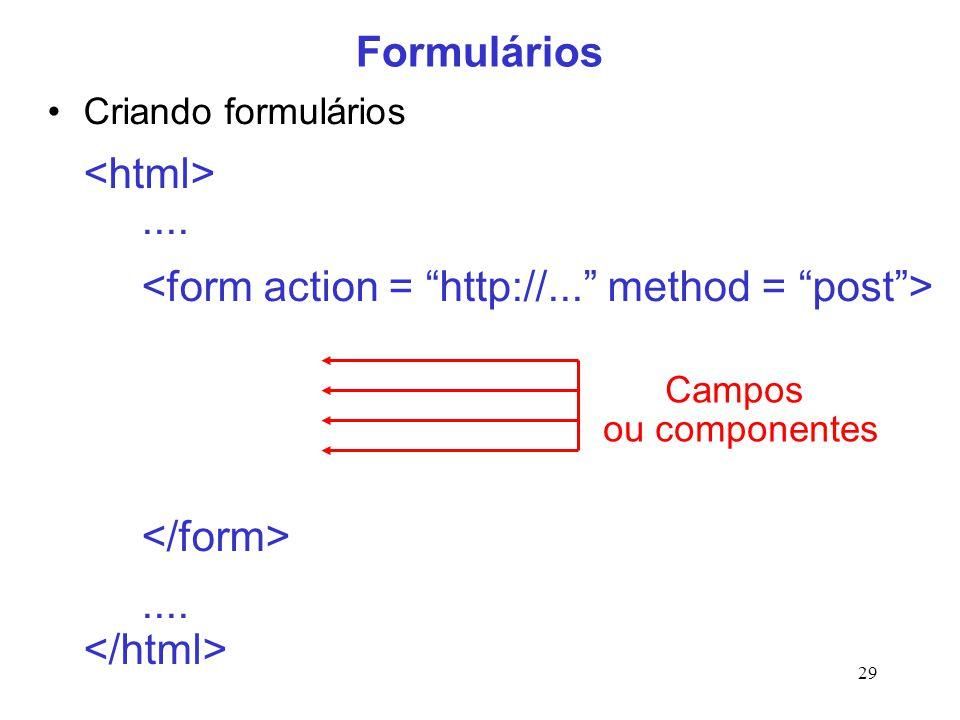 29 Formulários Criando formulários........ Campos ou componentes