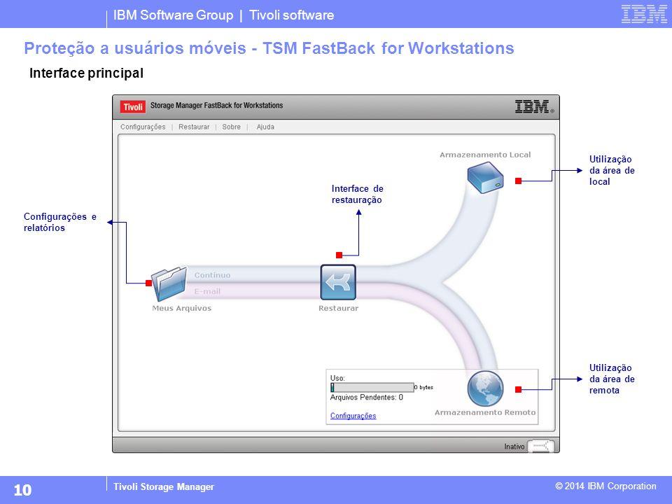 IBM Software Group | Tivoli software Tivoli Storage Manager © 2014 IBM Corporation Proteção a usuários móveis - TSM FastBack for Workstations Interfac