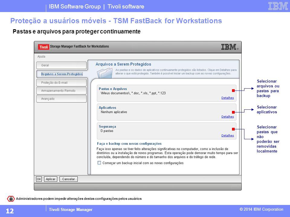 IBM Software Group | Tivoli software Tivoli Storage Manager © 2014 IBM Corporation Pastas e arquivos para proteger continuamente Proteção a usuários m