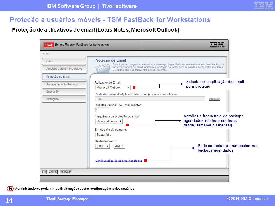 IBM Software Group | Tivoli software Tivoli Storage Manager © 2014 IBM Corporation Proteção de aplicativos de email (Lotus Notes, Microsoft Outlook) P