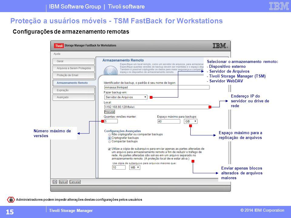 IBM Software Group | Tivoli software Tivoli Storage Manager © 2014 IBM Corporation Configurações de armazenamento remotas Proteção a usuários móveis -