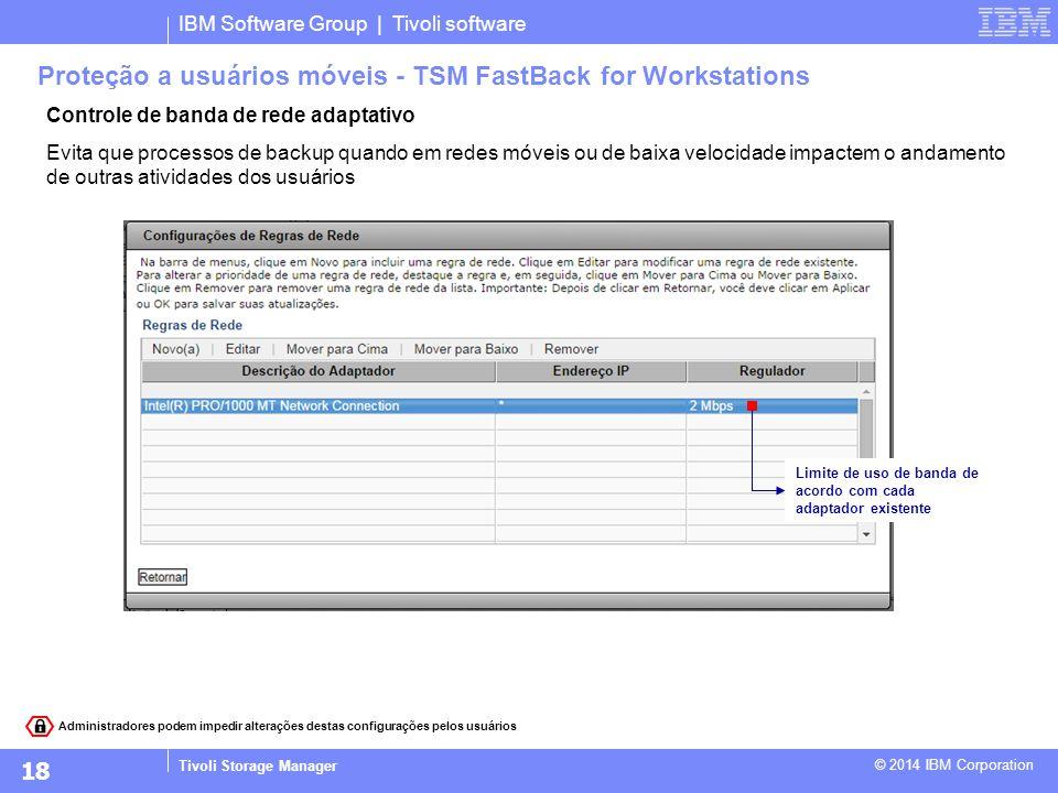IBM Software Group | Tivoli software Tivoli Storage Manager © 2014 IBM Corporation Controle de banda de rede adaptativo Evita que processos de backup