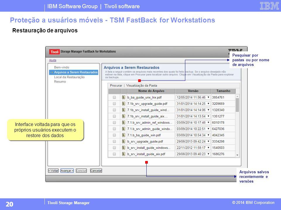 IBM Software Group | Tivoli software Tivoli Storage Manager © 2014 IBM Corporation Restauração de arquivos Proteção a usuários móveis - TSM FastBack f