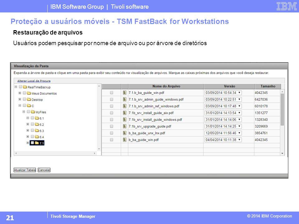 IBM Software Group | Tivoli software Tivoli Storage Manager © 2014 IBM Corporation Restauração de arquivos Usuários podem pesquisar por nome de arquiv