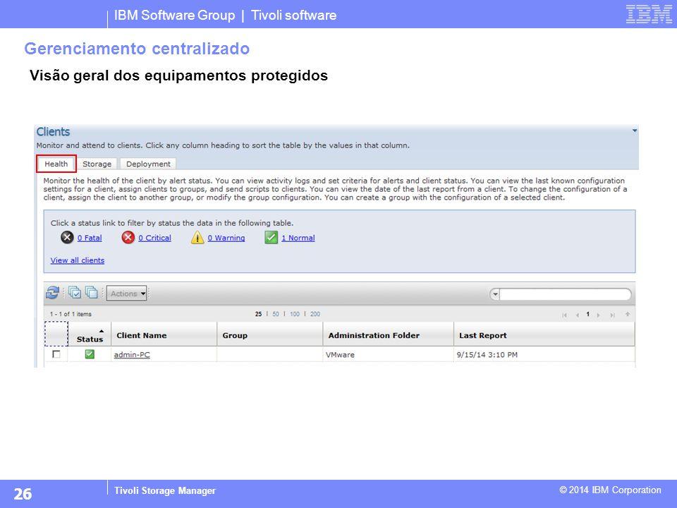 IBM Software Group | Tivoli software Tivoli Storage Manager © 2014 IBM Corporation Gerenciamento centralizado Visão geral dos equipamentos protegidos