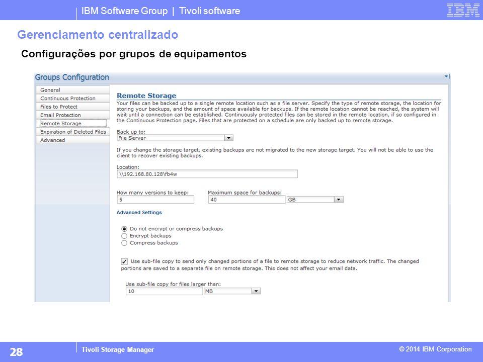 IBM Software Group | Tivoli software Tivoli Storage Manager © 2014 IBM Corporation Gerenciamento centralizado Configurações por grupos de equipamentos