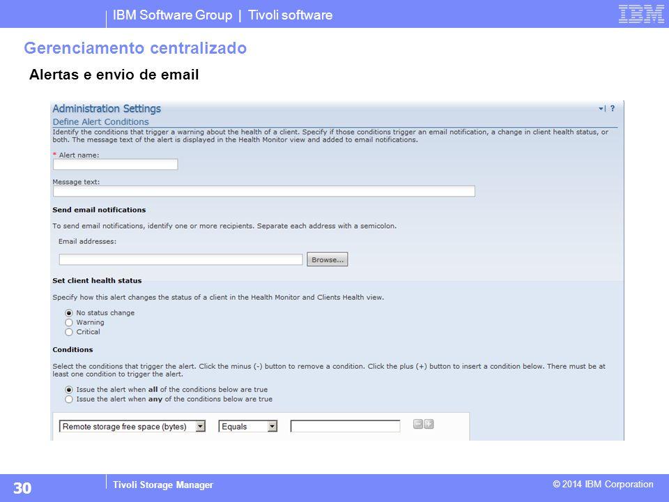 IBM Software Group | Tivoli software Tivoli Storage Manager © 2014 IBM Corporation Gerenciamento centralizado Alertas e envio de email 30