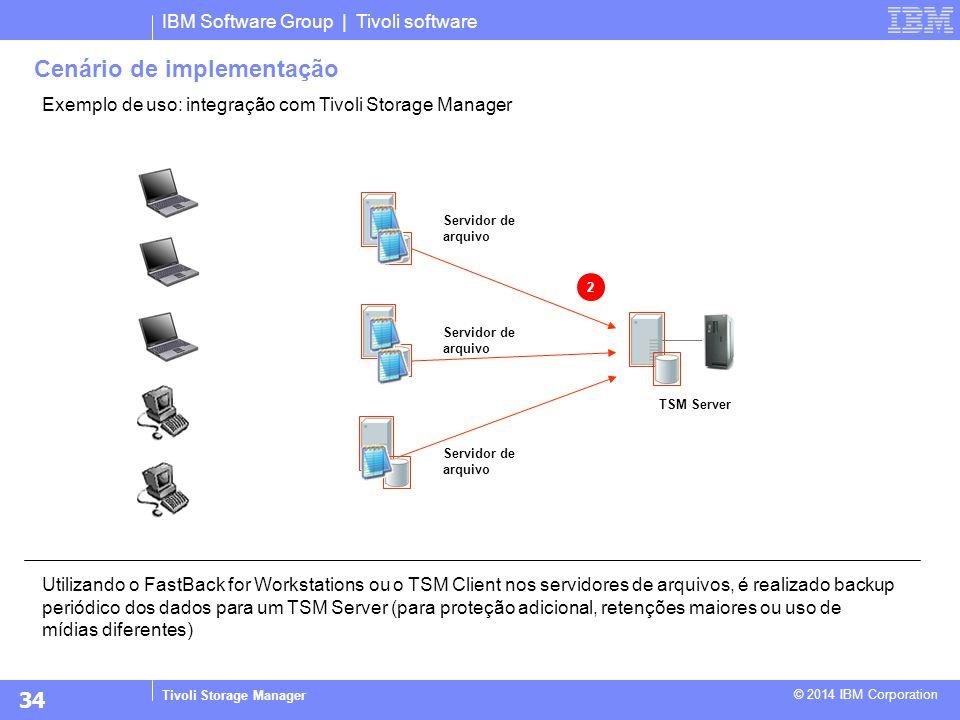 IBM Software Group | Tivoli software Tivoli Storage Manager © 2014 IBM Corporation Exemplo de uso: integração com Tivoli Storage Manager Utilizando o