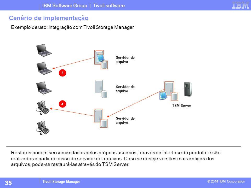IBM Software Group | Tivoli software Tivoli Storage Manager © 2014 IBM Corporation Exemplo de uso: integração com Tivoli Storage Manager Restores pode