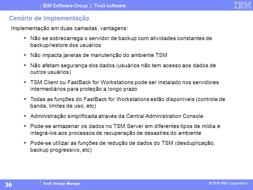IBM Software Group | Tivoli software Tivoli Storage Manager © 2014 IBM Corporation Implementação em duas camadas, vantagens:  Não se sobrecarrega o s
