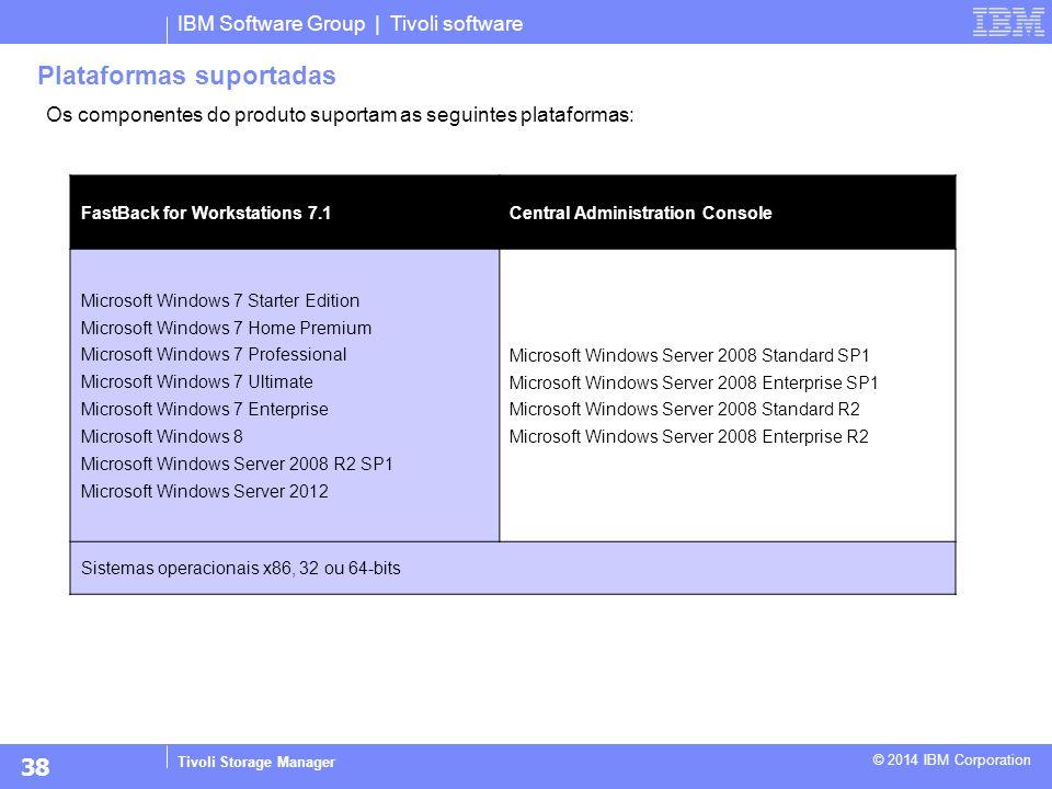 IBM Software Group | Tivoli software Tivoli Storage Manager © 2014 IBM Corporation Plataformas suportadas FastBack for Workstations 7.1Central Adminis