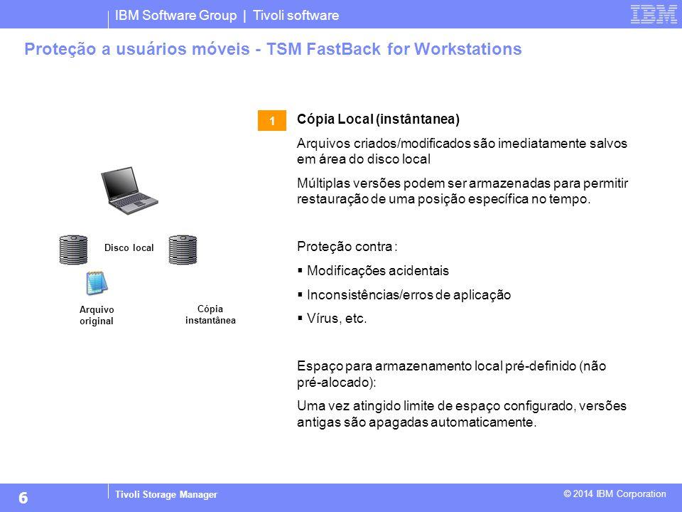 IBM Software Group | Tivoli software Tivoli Storage Manager © 2014 IBM Corporation Proteção a usuários móveis - TSM FastBack for Workstations Cópia Lo