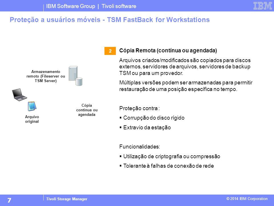 IBM Software Group | Tivoli software Tivoli Storage Manager © 2014 IBM Corporation Proteção a usuários móveis - TSM FastBack for Workstations Arquivo