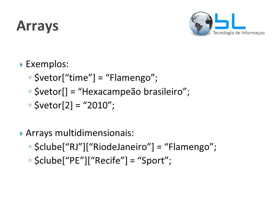 Arrays  Exemplos: ◦ $vetor[ time ] = Flamengo ; ◦ $vetor[] = Hexacampeão brasileiro ; ◦ $vetor[2] = 2010 ;  Arrays multidimensionais: ◦ $clube[ RJ ][ RiodeJaneiro ] = Flamengo ; ◦ $clube[ PE ][ Recife ] = Sport ;