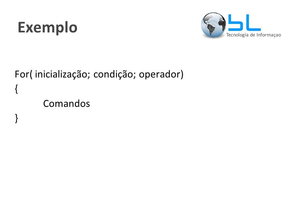 Exemplo For( inicialização; condição; operador) { Comandos }