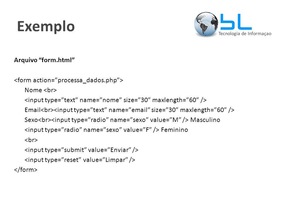 Exemplo Arquivo form.html Nome Email Sexo Masculino Feminino