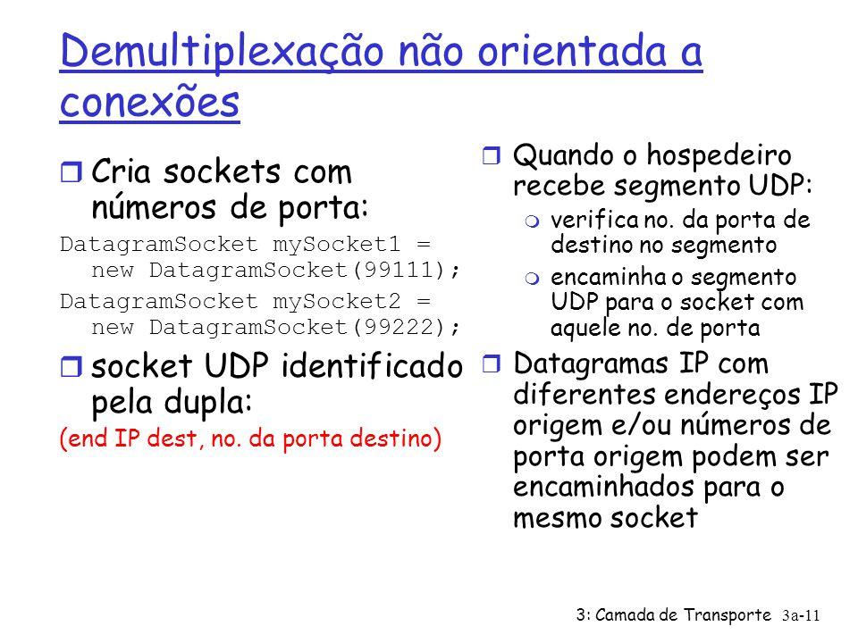 3: Camada de Transporte3a-11 Demultiplexação não orientada a conexões r Cria sockets com números de porta: DatagramSocket mySocket1 = new DatagramSocket(99111); DatagramSocket mySocket2 = new DatagramSocket(99222); r socket UDP identificado pela dupla: (end IP dest, no.