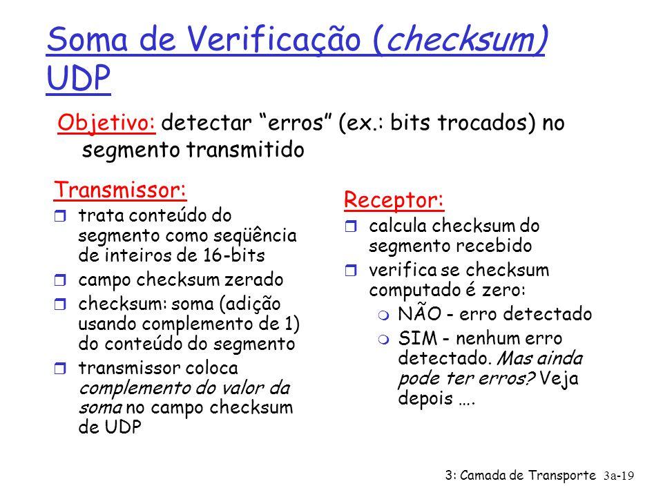 3: Camada de Transporte3a-19 Soma de Verificação (checksum) UDP Transmissor: r trata conteúdo do segmento como seqüência de inteiros de 16-bits r campo checksum zerado r checksum: soma (adição usando complemento de 1) do conteúdo do segmento r transmissor coloca complemento do valor da soma no campo checksum de UDP Receptor: r calcula checksum do segmento recebido r verifica se checksum computado é zero: m NÃO - erro detectado m SIM - nenhum erro detectado.