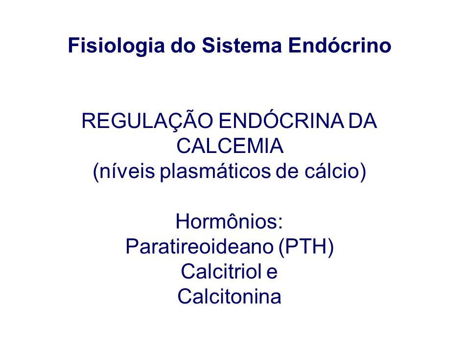 Fisiologia do Sistema Endócrino REGULAÇÃO ENDÓCRINA DA CALCEMIA (níveis plasmáticos de cálcio) Hormônios: Paratireoideano (PTH) Calcitriol e Calcitoni