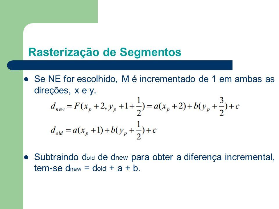 Se NE for escolhido, M é incrementado de 1 em ambas as direções, x e y. Subtraindo d old de d new para obter a diferença incremental, tem-se d new = d