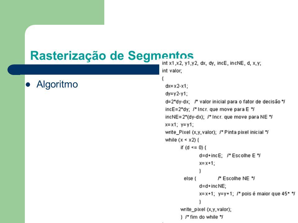 Rasterização de Segmentos Exercícios: (1) Implemente o algoritmo (2) Teste para diversos segmentos pertencentes ao primeiro octante.