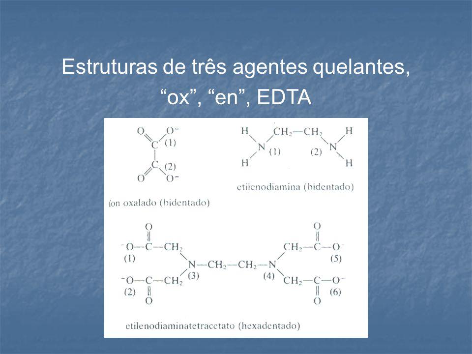 """Estruturas de três agentes quelantes, """"ox"""", """"en"""", EDTA"""
