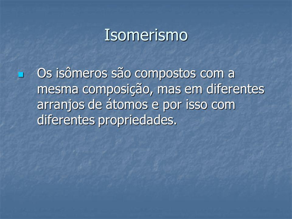 Isomerismo Os isômeros são compostos com a mesma composição, mas em diferentes arranjos de átomos e por isso com diferentes propriedades. Os isômeros