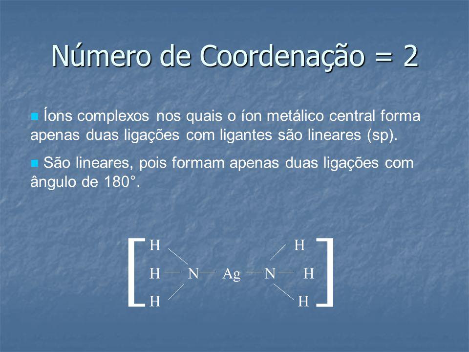 Número de Coordenação = 2 Íons complexos nos quais o íon metálico central forma apenas duas ligações com ligantes são lineares (sp). São lineares, poi