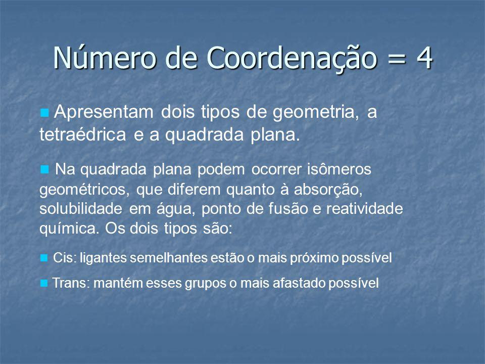 Número de Coordenação = 4 Apresentam dois tipos de geometria, a tetraédrica e a quadrada plana. Na quadrada plana podem ocorrer isômeros geométricos,