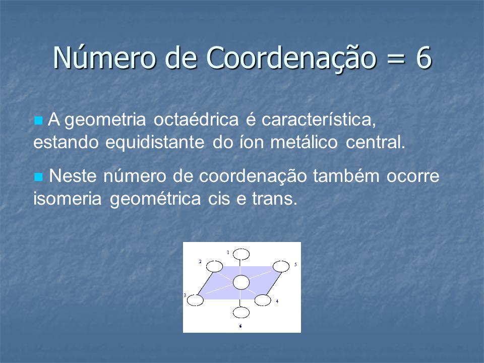 Número de Coordenação = 6 A geometria octaédrica é característica, estando equidistante do íon metálico central. Neste número de coordenação também oc