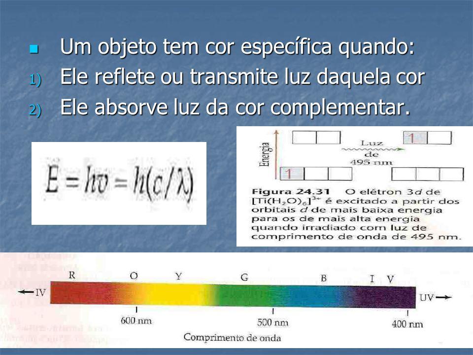 Um objeto tem cor específica quando: Um objeto tem cor específica quando: 1) Ele reflete ou transmite luz daquela cor 2) Ele absorve luz da cor comple