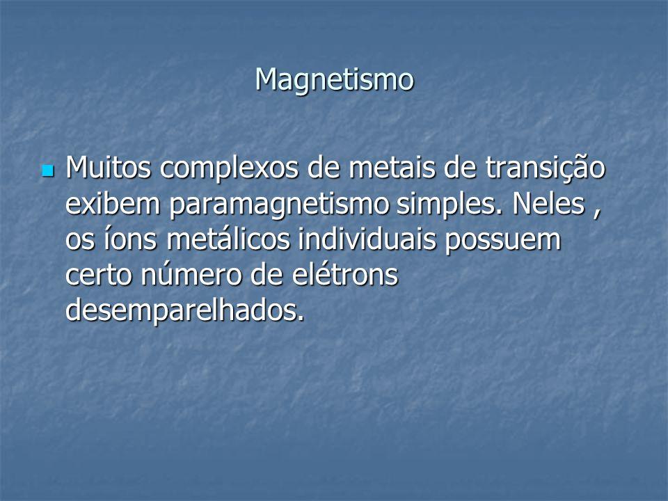 Magnetismo Muitos complexos de metais de transição exibem paramagnetismo simples. Neles, os íons metálicos individuais possuem certo número de elétron