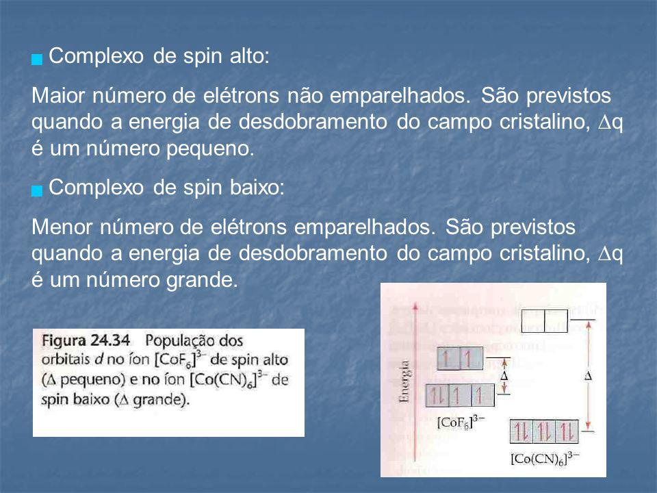 Complexo de spin alto: Maior número de elétrons não emparelhados. São previstos quando a energia de desdobramento do campo cristalino, ∆q é um númer