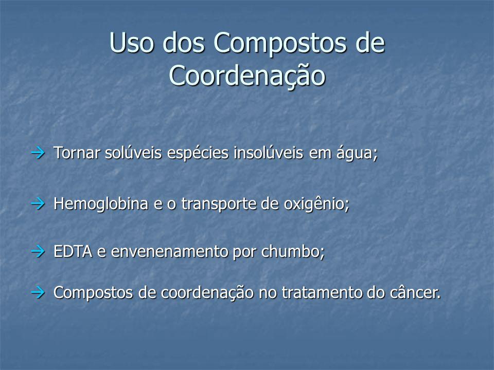 Uso dos Compostos de Coordenação  Tornar solúveis espécies insolúveis em água;  Hemoglobina e o transporte de oxigênio;  EDTA e envenenamento por c
