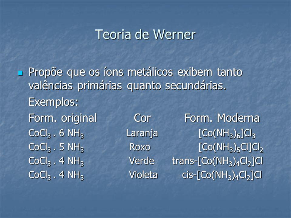 Teoria de Werner Propõe que os íons metálicos exibem tanto valências primárias quanto secundárias. Propõe que os íons metálicos exibem tanto valências