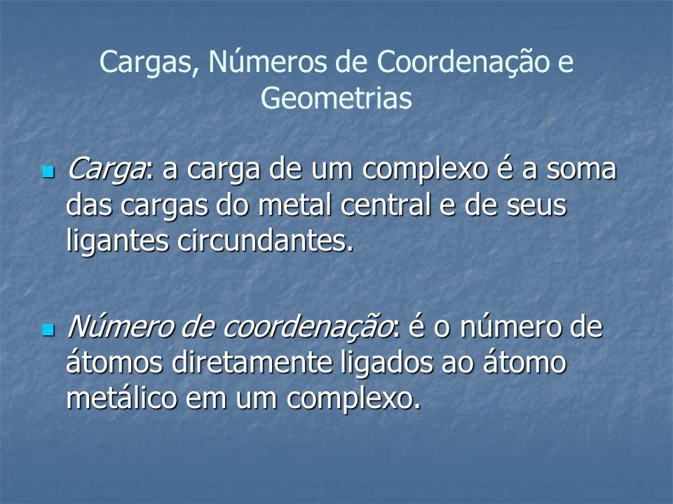 Cargas, Números de Coordenação e Geometrias Carga: a carga de um complexo é a soma das cargas do metal central e de seus ligantes circundantes. Carga: