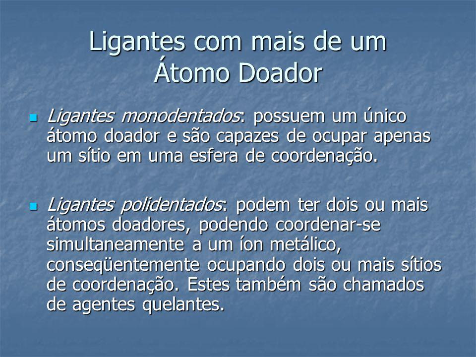Ligantes com mais de um Átomo Doador Ligantes monodentados: possuem um único átomo doador e são capazes de ocupar apenas um sítio em uma esfera de coo