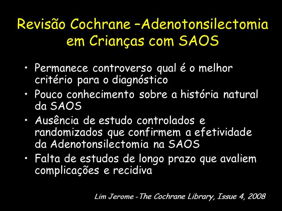 Revisão Cochrane –Adenotonsilectomia em Crianças com SAOS Permanece controverso qual é o melhor critério para o diagnóstico Pouco conhecimento sobre a