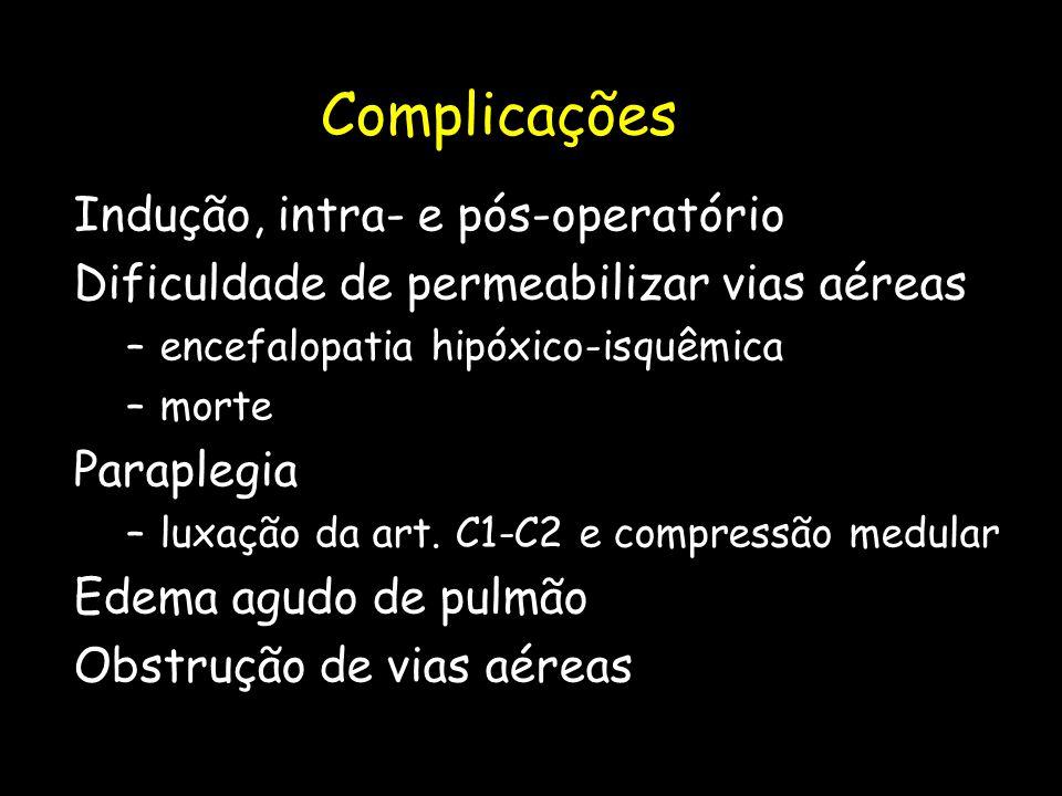 Complicações Indução, intra- e pós-operatório Dificuldade de permeabilizar vias aéreas –encefalopatia hipóxico-isquêmica –morte Paraplegia –luxação da
