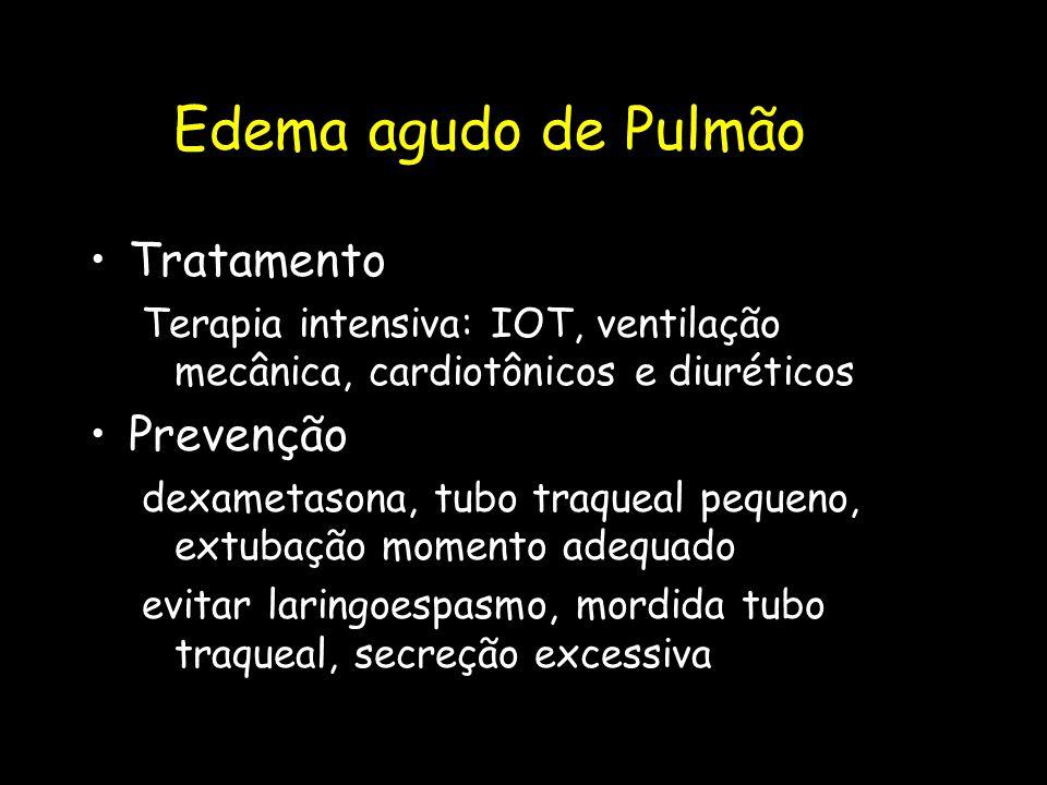 Edema agudo de Pulmão Tratamento Terapia intensiva: IOT, ventilação mecânica, cardiotônicos e diuréticos Prevenção dexametasona, tubo traqueal pequeno