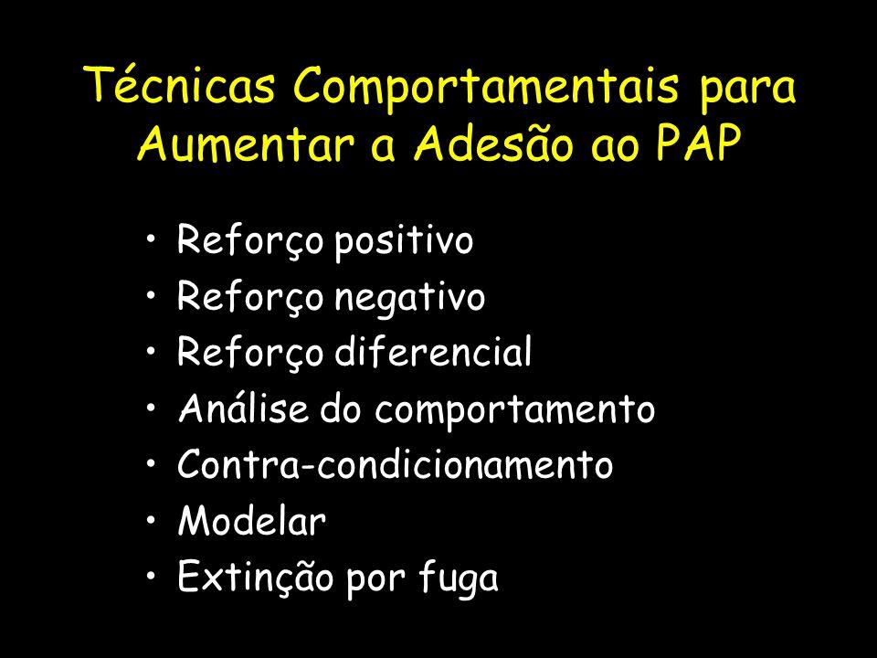 Técnicas Comportamentais para Aumentar a Adesão ao PAP Reforço positivo Reforço negativo Reforço diferencial Análise do comportamento Contra-condicionamento Modelar Extinção por fuga
