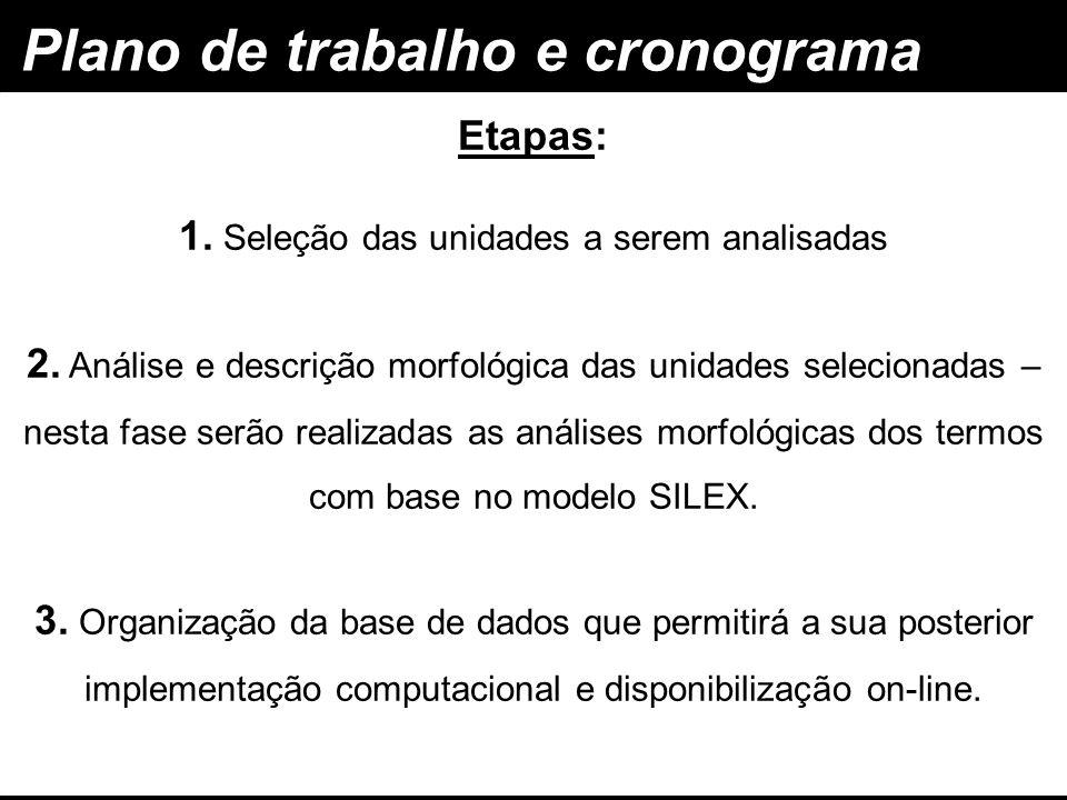 Plano de trabalho e cronograma Etapas: 1. Seleção das unidades a serem analisadas 2. Análise e descrição morfológica das unidades selecionadas – nesta