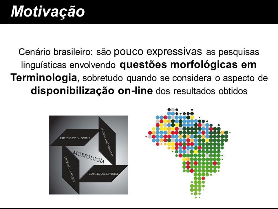 Motivação questões morfológicas em Terminologia disponibilização on-line Cenário brasileiro: são pouco expressivas as pesquisas linguísticas envolvend