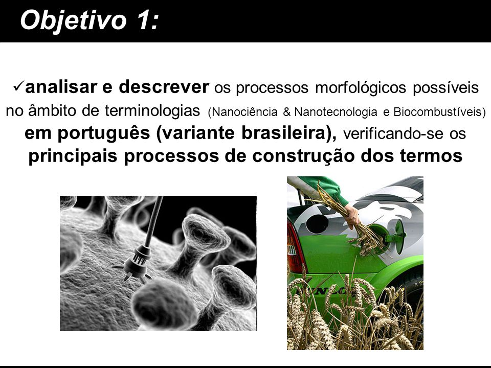 Objetivo 1: analisar e descrever em português (variante brasileira), principais processos de construção dos termos analisar e descrever os processos m