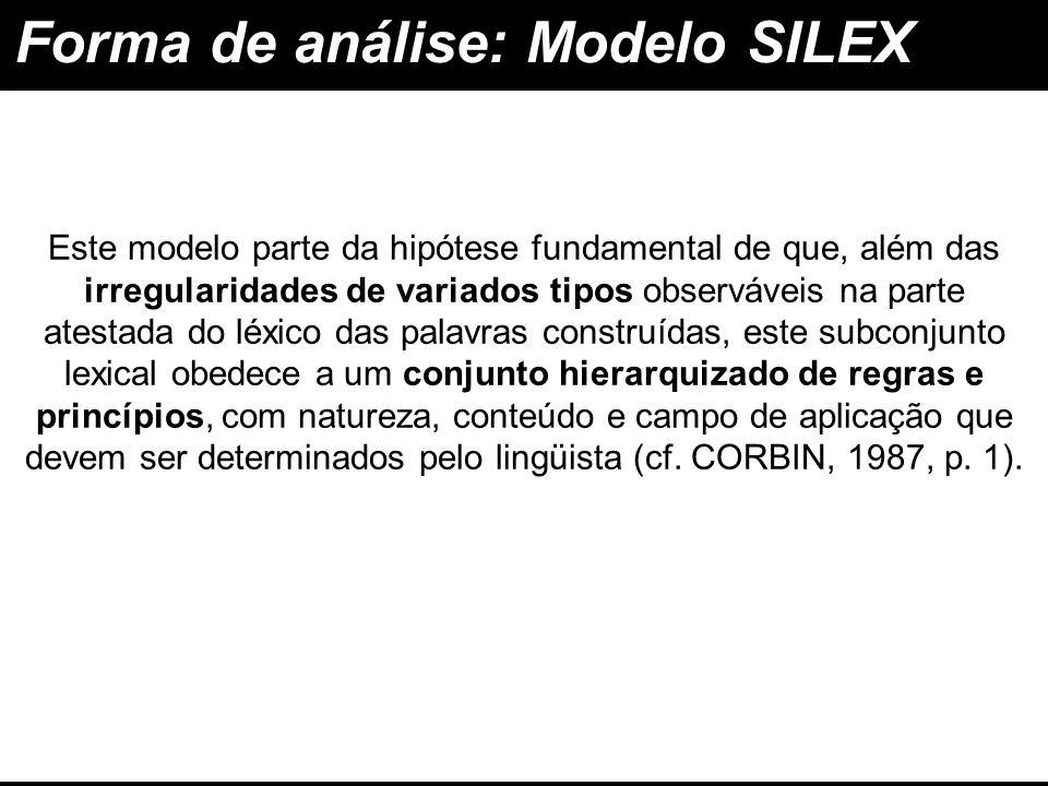 Forma de análise: Modelo SILEX associativo e estratificado O modelo SILEX assume-se como um modelo associativo e estratificado : construir conjuntamente a estrutura morfológica e a interpretação semântica Por 'modelo associativo' entende-se aquele cujas Regras de Construção de Palavras (RCPs) permitem construir conjuntamente a estrutura morfológica e a interpretação semântica das palavras construídas componente lexical da gramática composto por vários níveis É um 'modelo estratificado' porque apresenta um componente lexical da gramática composto por vários níveis, ao longo dos quais se vai construindo o significado das palavras construídas.