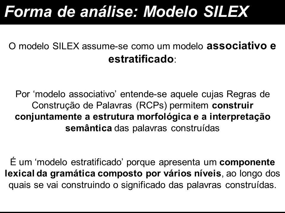 Forma de análise: Modelo SILEX associativo e estratificado O modelo SILEX assume-se como um modelo associativo e estratificado : construir conjuntamen