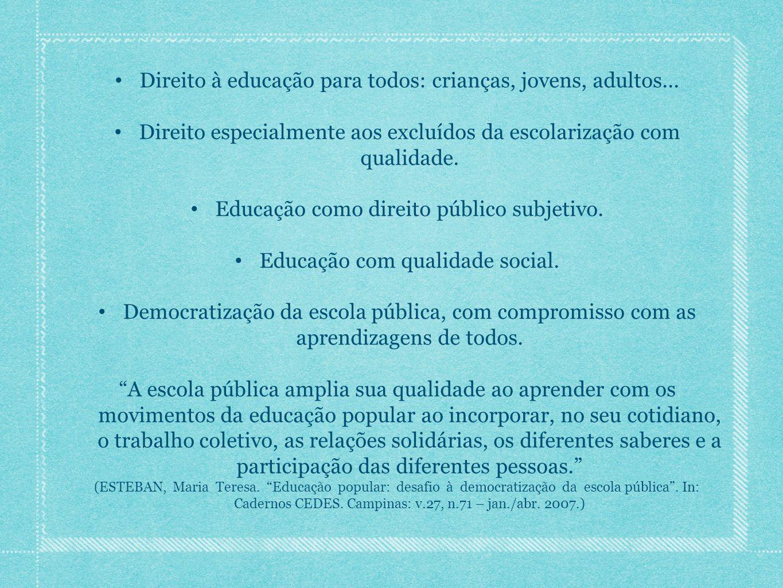 Direito à educação para todos: crianças, jovens, adultos... Direito especialmente aos excluídos da escolarização com qualidade. Educação como direito