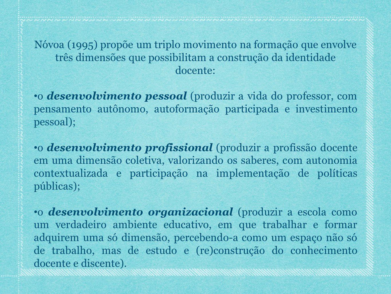 Nóvoa (1995) propõe um triplo movimento na formação que envolve três dimensões que possibilitam a construção da identidade docente: o desenvolvimento